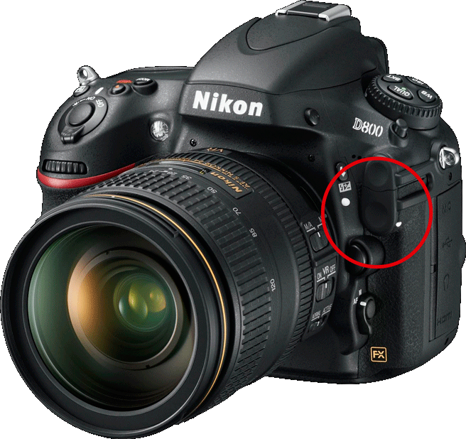 Nikon D800 with its 10-pin port for GPS